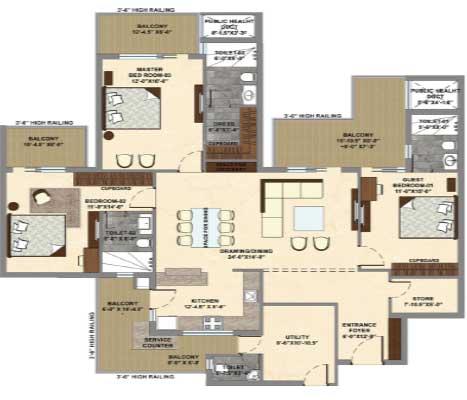 Marbella Grand, 3 bhk floor plan, flat floor plan, home floor plans, home plans, new house design, cascade buildtech