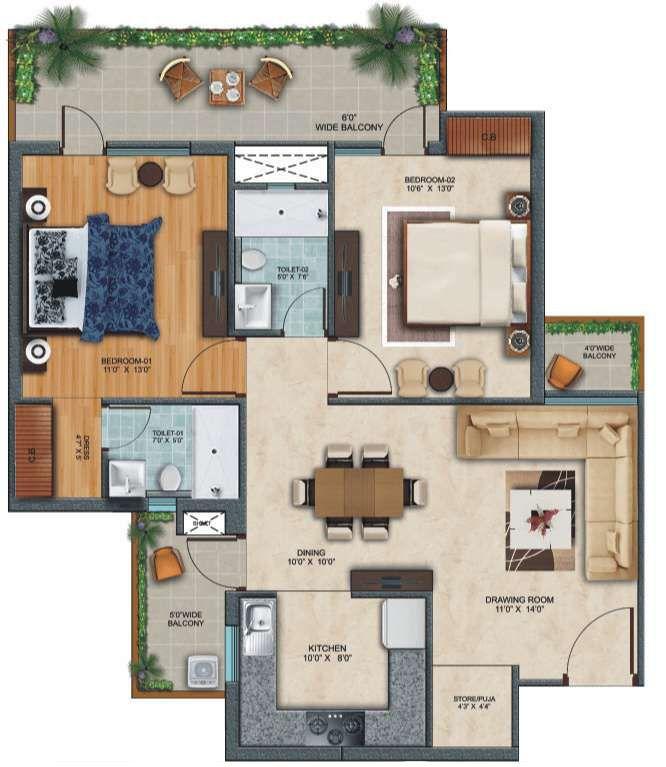 2-bhk-floor in zirakput Affinity Greens-cascade buildtech