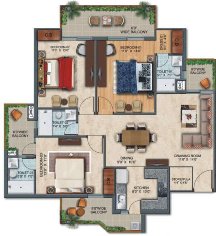3-bhk-elite-floor in zirakput Affinity Greens-cascade buildtech