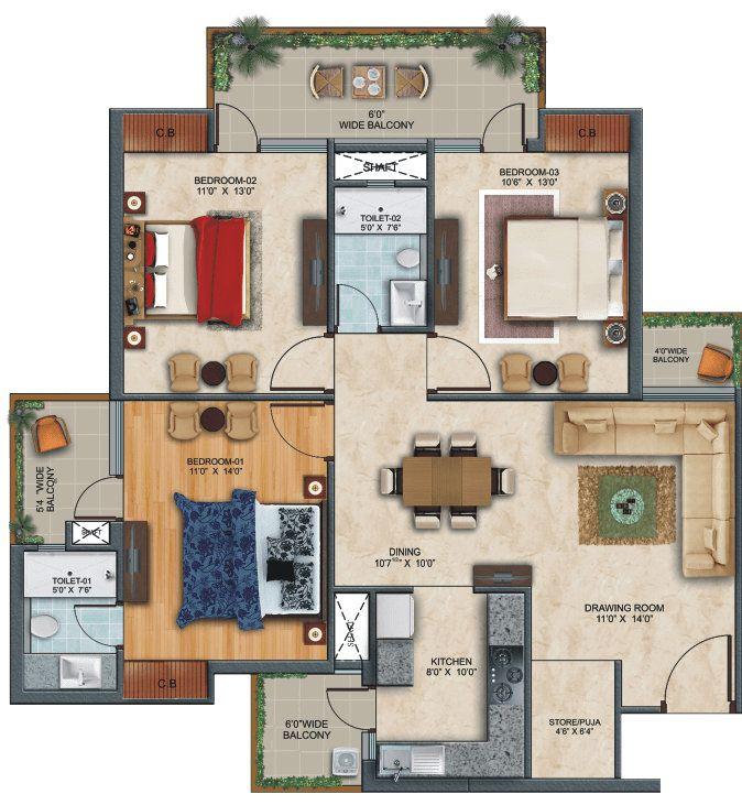 3-bhk-floor in zirakput Affinity Greens-cascade buildtech