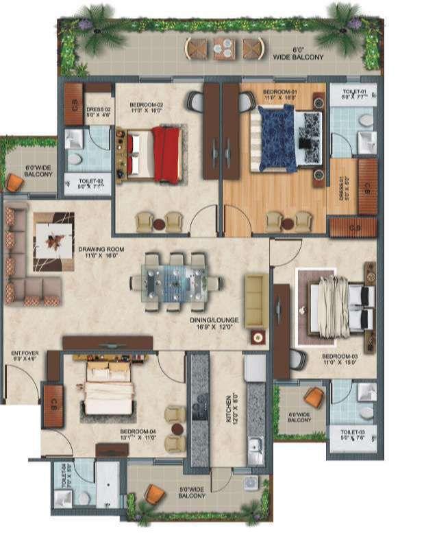 4-bhk-floor in zirakput Affinity Greens-cascade buildtech