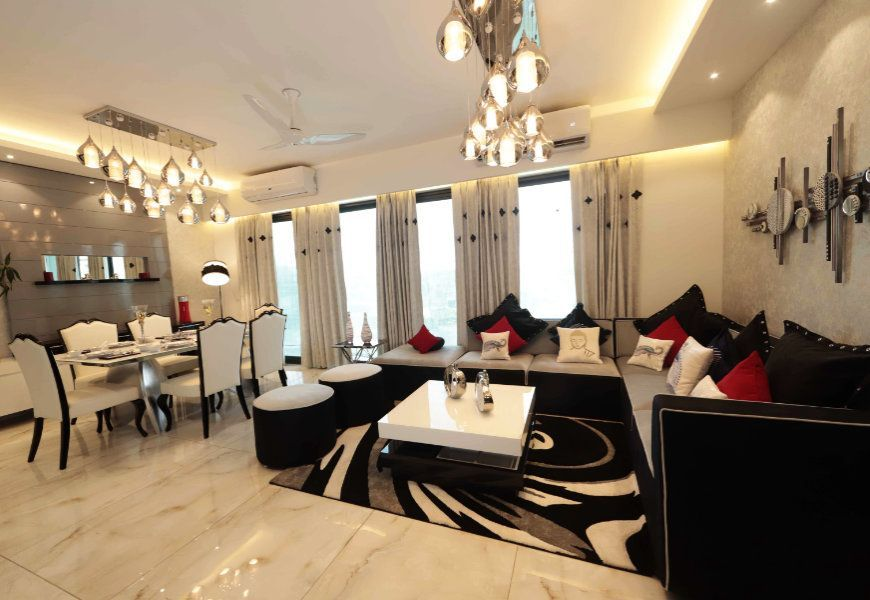 3-4bhk flats for sale in mona city homes mohali dining room and drying room