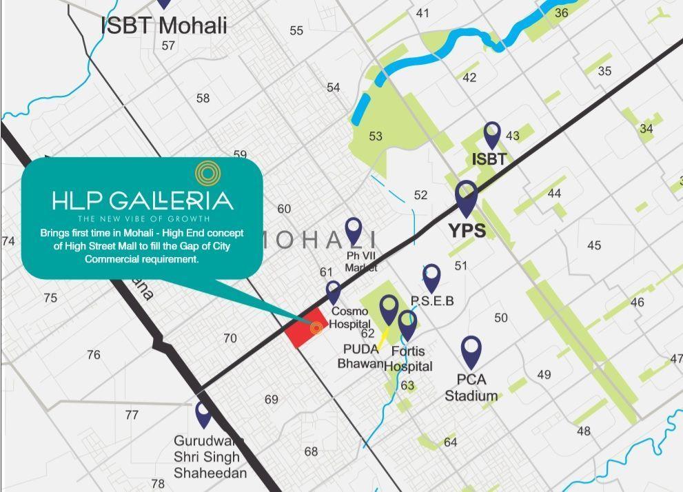 HLP Galleria Mohali Location Map