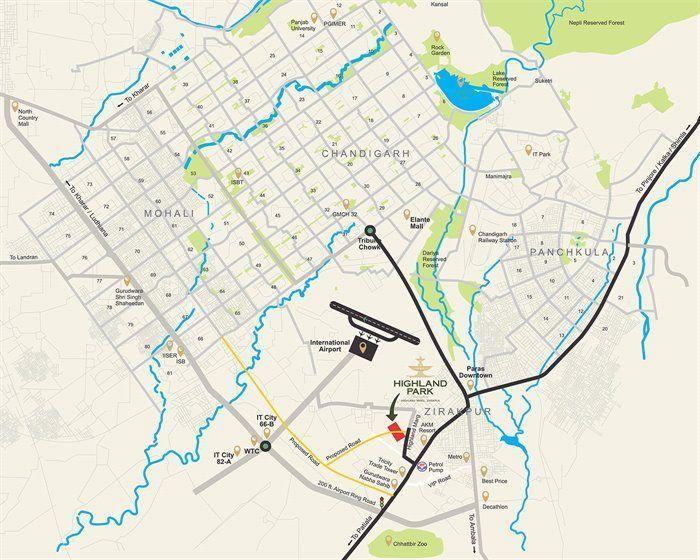 Highland Park Zirakpur Location Map