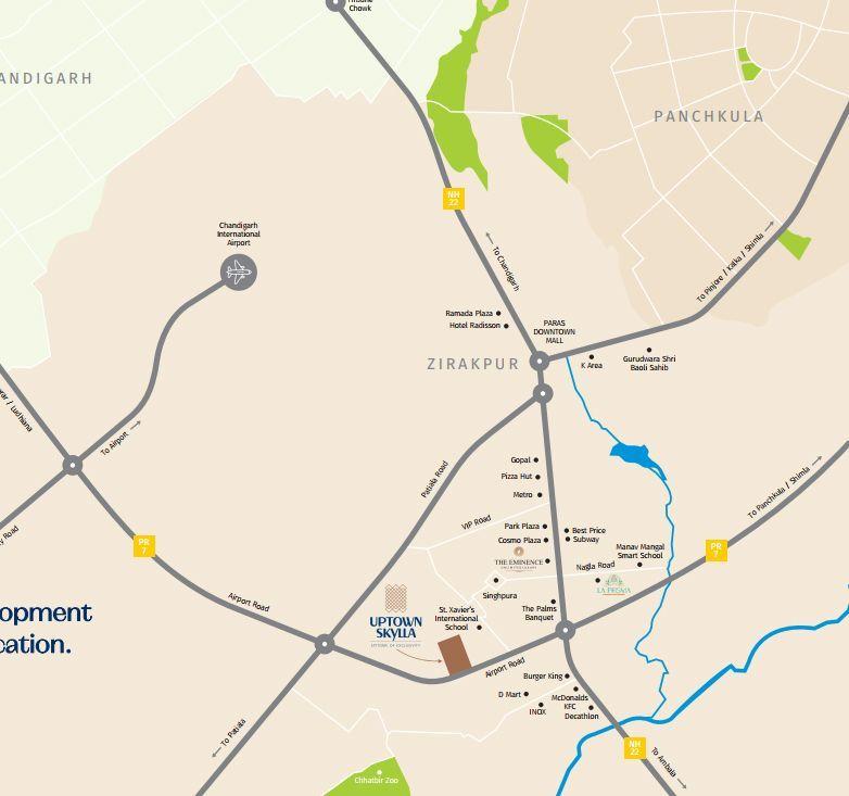 Uptown Skylla Zirakpur Location Map