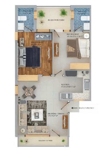2BHK Floors Plan Monarch Homes Mohali