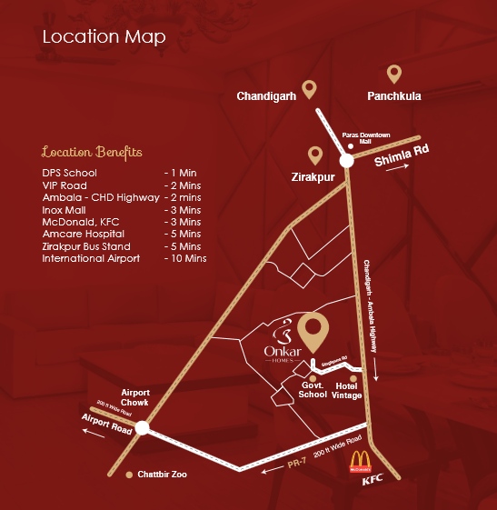 Map location of Onkar Homes