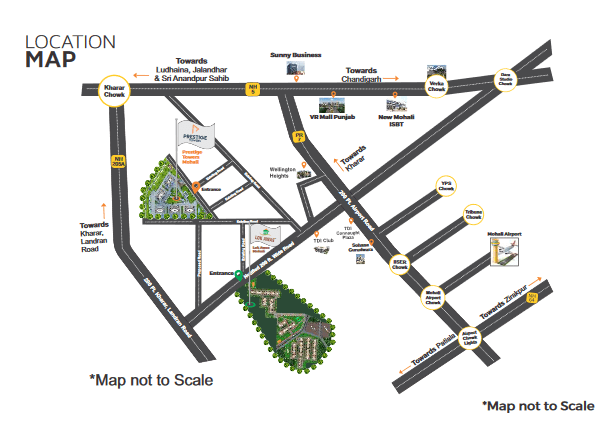 LOcation Map of Prestige Towers Mohali